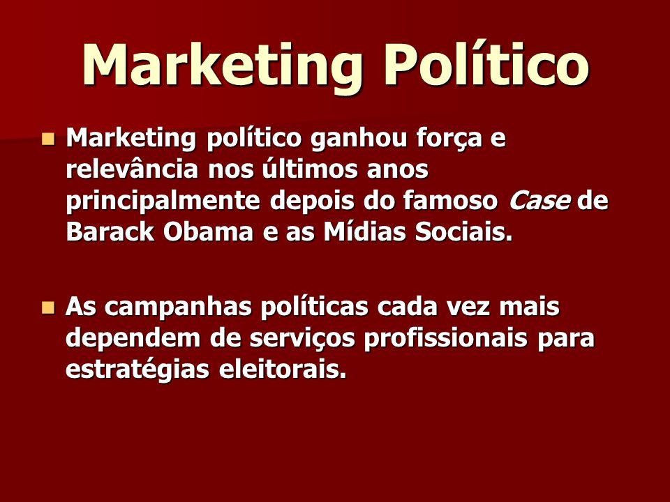 Marketing Político Marketing político ganhou força e relevância nos últimos anos principalmente depois do famoso Case de Barack Obama e as Mídias Sociais.