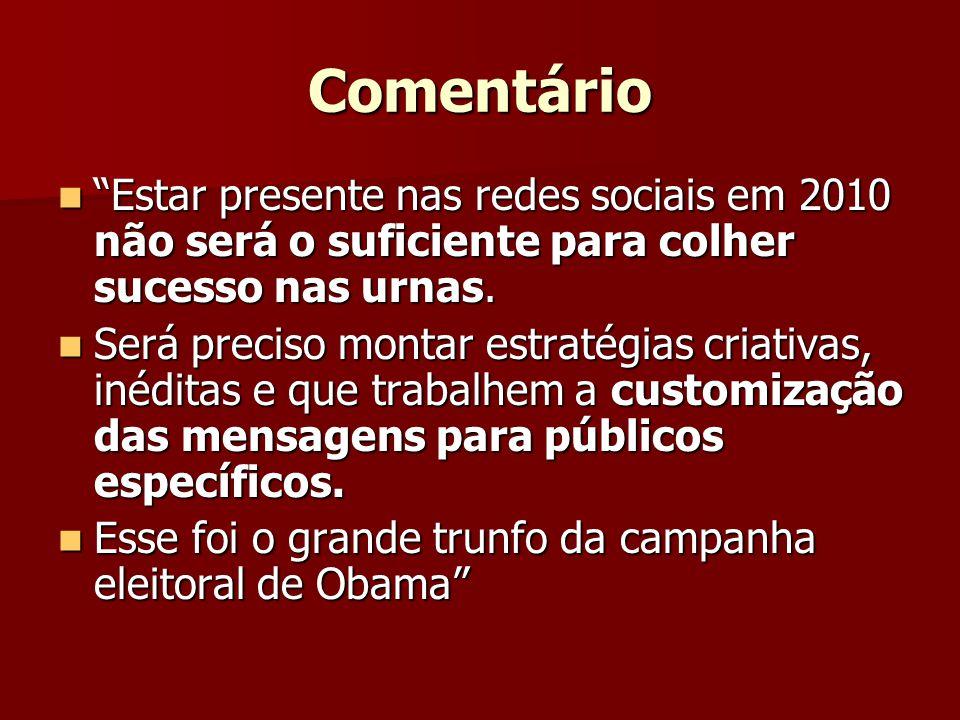 Comentário Estar presente nas redes sociais em 2010 não será o suficiente para colher sucesso nas urnas.