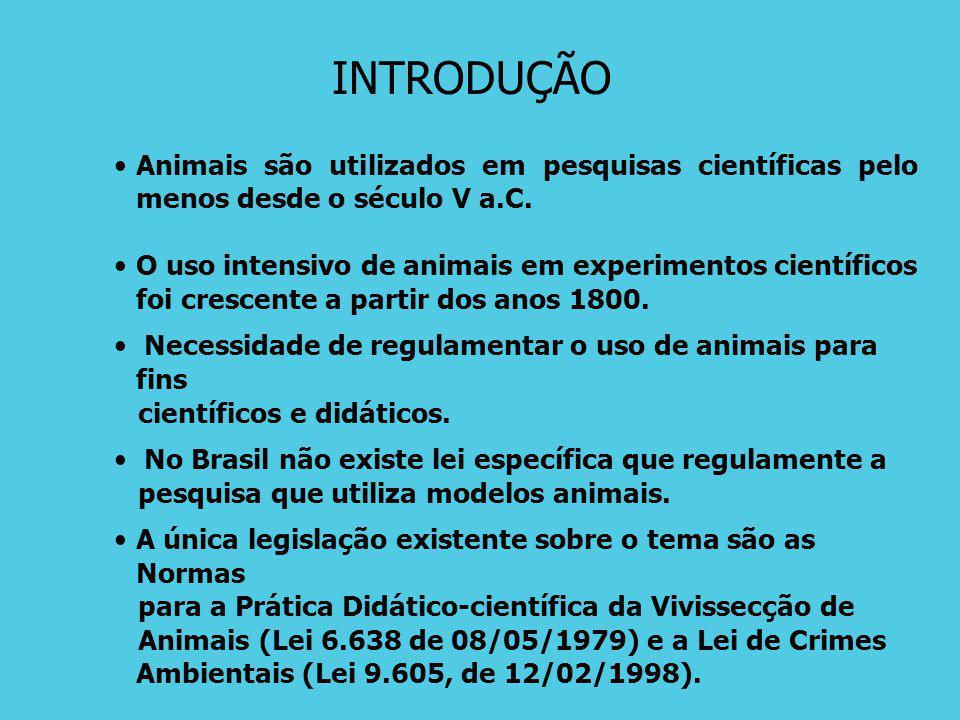 Aspectos Históricos e Legais da Pesquisa Envolvendo Animais http://www.bioetica.ufrgs.br/textos.htm#animal 1975Peter Singer 1978Declaração Universal dos Direitos dos Animais - UNESCO 1979 Brasil, Lei 6.638: Vivissecção Animais 1980 Movimento para eliminar o uso de animais em pesquisas biomédicas 1986 Animals (Scientific Procedures) Act Reino Unido 1988 Brasil, Resolução CNS 01/88 1996 Brasil, Resolução CNS 196/96 1998 Brasil, Lei 9605, de Crimes Ambientais