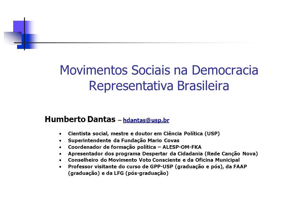 Processo Constituinte O processo constituinte brasileiro é um BELO exemplo de interação entre a democracia representativa e os movimentos sociais Movimentos de bairros nas décadas de 70 e 80 Movimentos sindicais durante o Regime Militar Participação ativa no processo Constituinte Possibilidade de envolvimento da sociedade