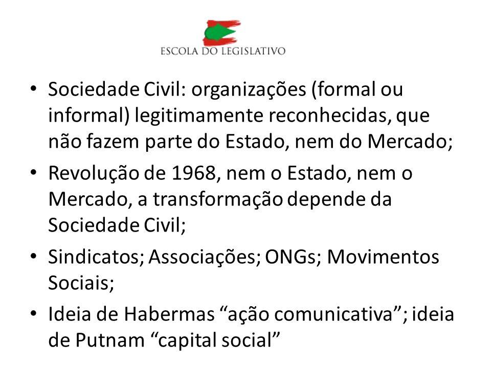 Sociedade Civil: organizações (formal ou informal) legitimamente reconhecidas, que não fazem parte do Estado, nem do Mercado; Revolução de 1968, nem o