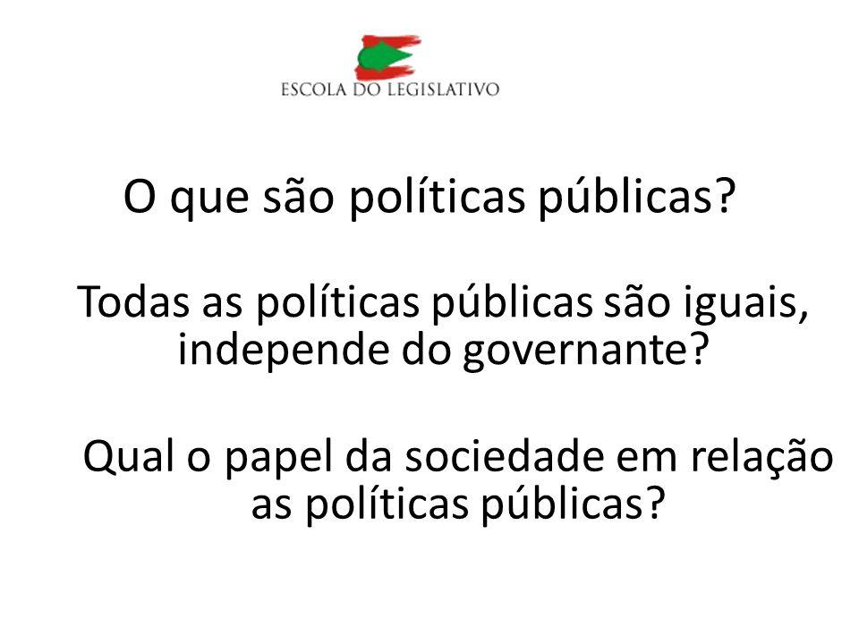 O que são políticas públicas? Todas as políticas públicas são iguais, independe do governante? Qual o papel da sociedade em relação as políticas públi