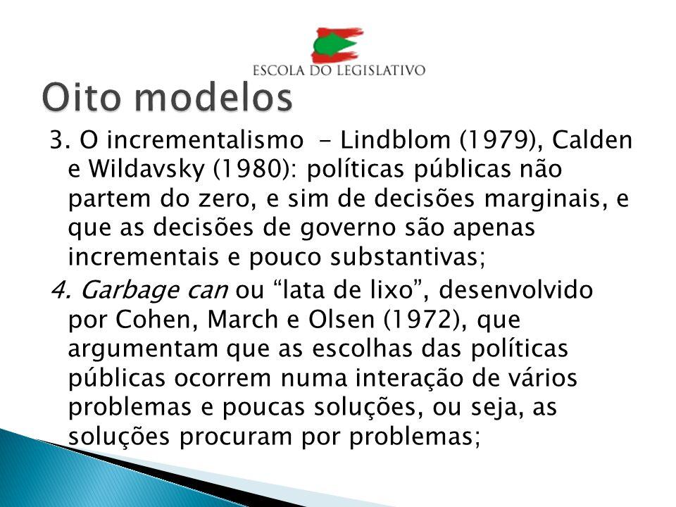 3. O incrementalismo - Lindblom (1979), Calden e Wildavsky (1980): políticas públicas não partem do zero, e sim de decisões marginais, e que as decisõ