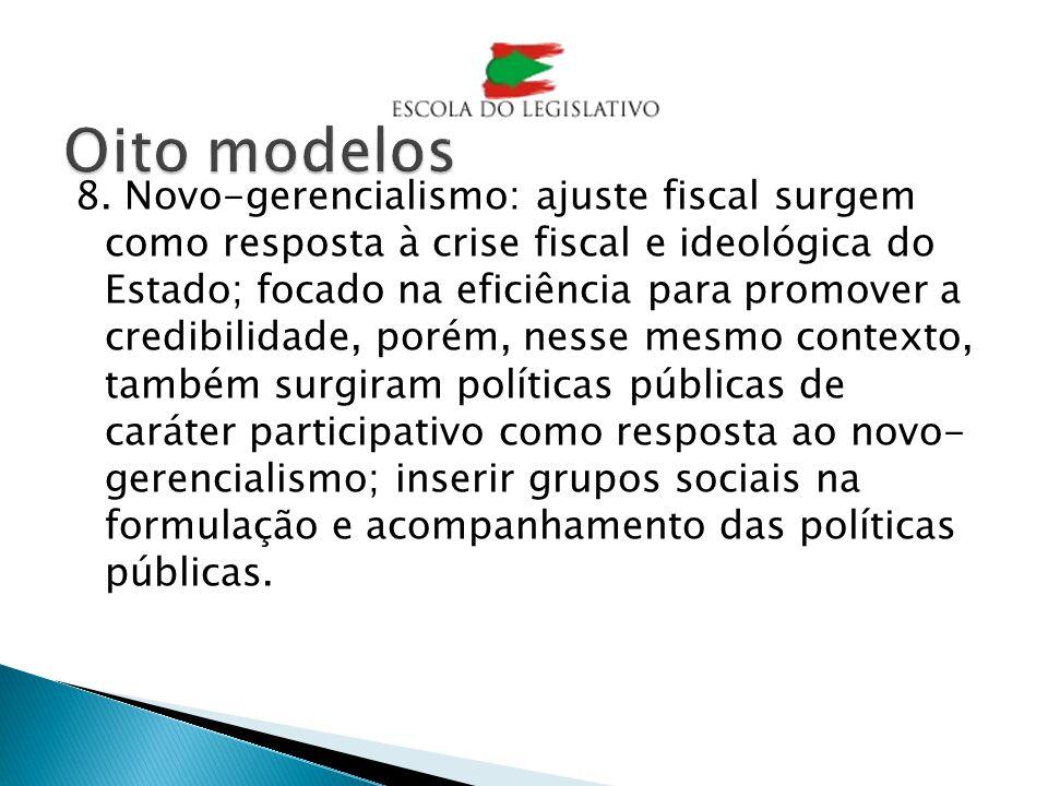 8. Novo-gerencialismo: ajuste fiscal surgem como resposta à crise fiscal e ideológica do Estado; focado na eficiência para promover a credibilidade, p