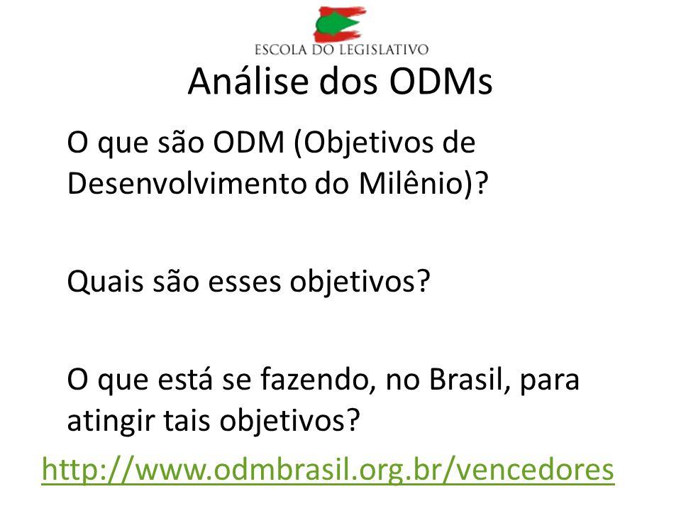Análise dos ODMs O que são ODM (Objetivos de Desenvolvimento do Milênio)? Quais são esses objetivos? O que está se fazendo, no Brasil, para atingir ta