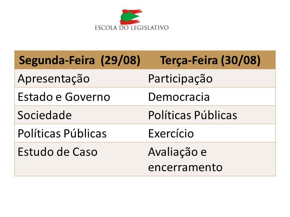 Programa Segunda-Feira (29/08)Terça-Feira (30/08) ApresentaçãoParticipação Estado e GovernoDemocracia SociedadePolíticas Públicas Exercício Estudo de