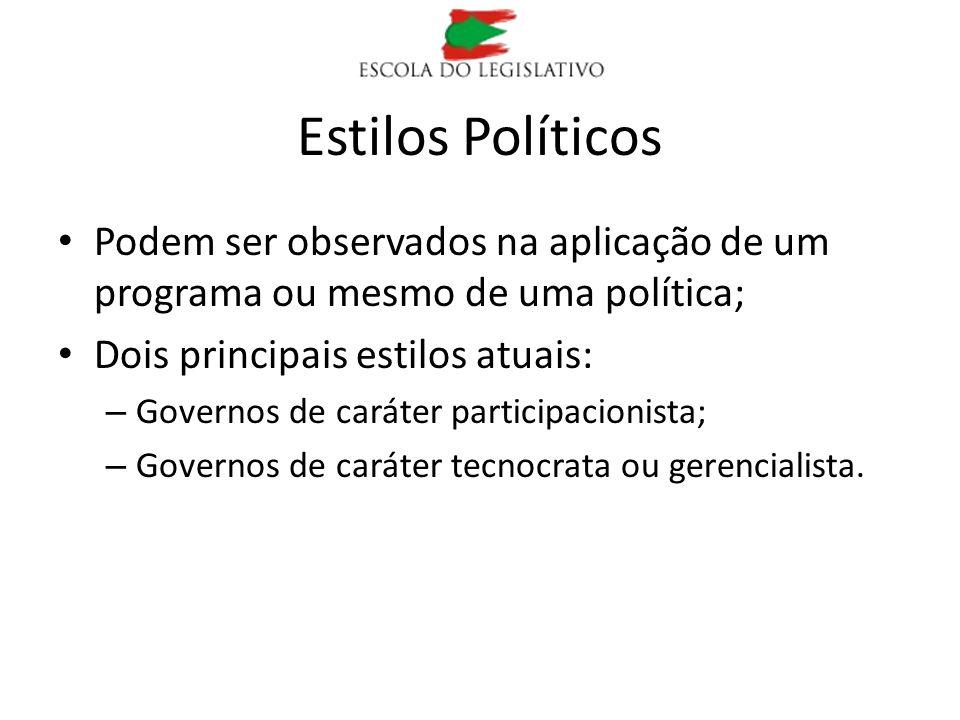 Estilos Políticos Podem ser observados na aplicação de um programa ou mesmo de uma política; Dois principais estilos atuais: – Governos de caráter par