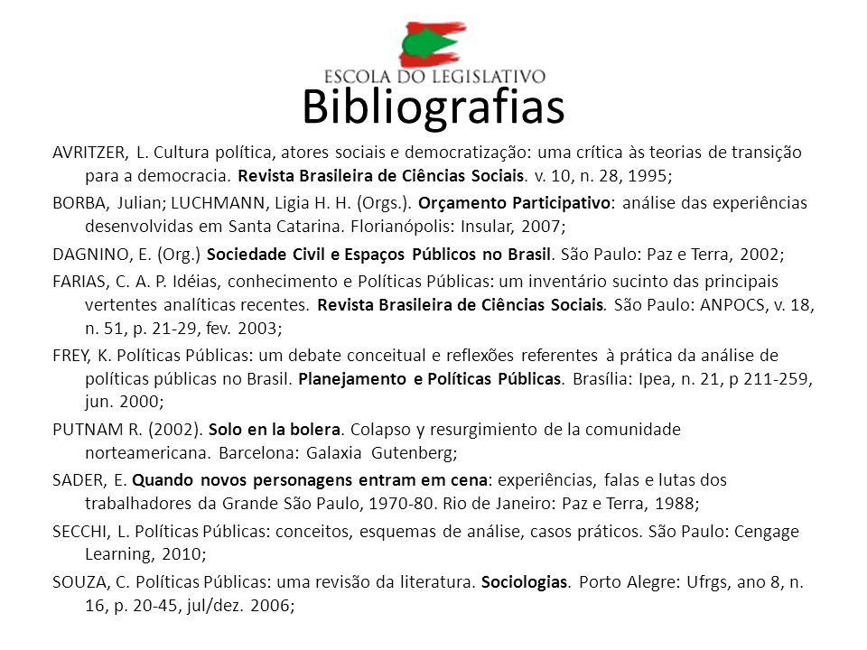 Bibliografias AVRITZER, L. Cultura política, atores sociais e democratização: uma crítica às teorias de transição para a democracia. Revista Brasileir