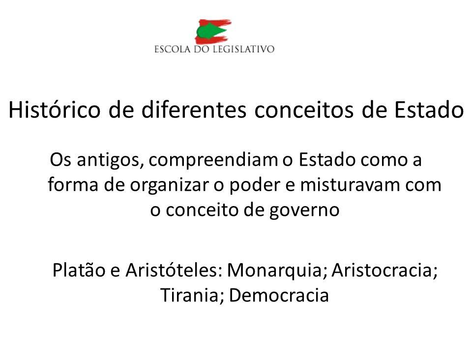 Os antigos, compreendiam o Estado como a forma de organizar o poder e misturavam com o conceito de governo Platão e Aristóteles: Monarquia; Aristocrac
