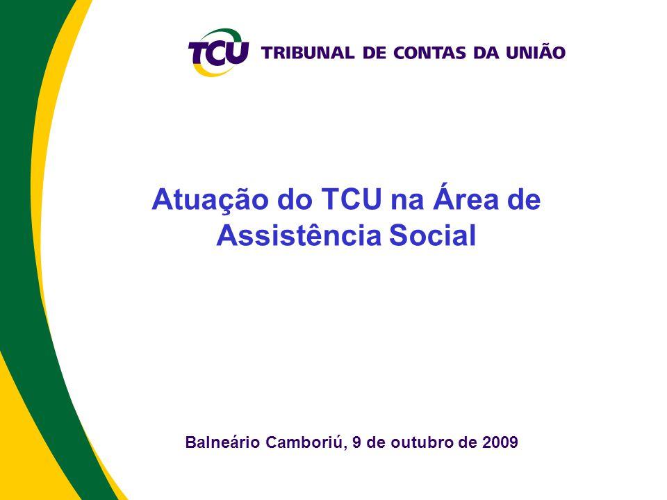 Balneário Camboriú, 9 de outubro de 2009 Atuação do TCU na Área de Assistência Social