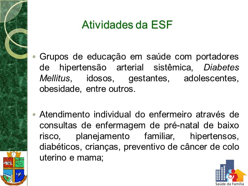 Ações da Equipe da ESF Consultas médicas; Procedimentos de enfermagem; Visitas domiciliares do profissional médico, enfermeiro, técnico/auxiliar de en