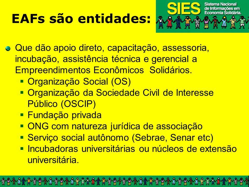 Que dão apoio direto, capacitação, assessoria, incubação, assistência técnica e gerencial a Empreendimentos Econômicos Solidários. Organização Social