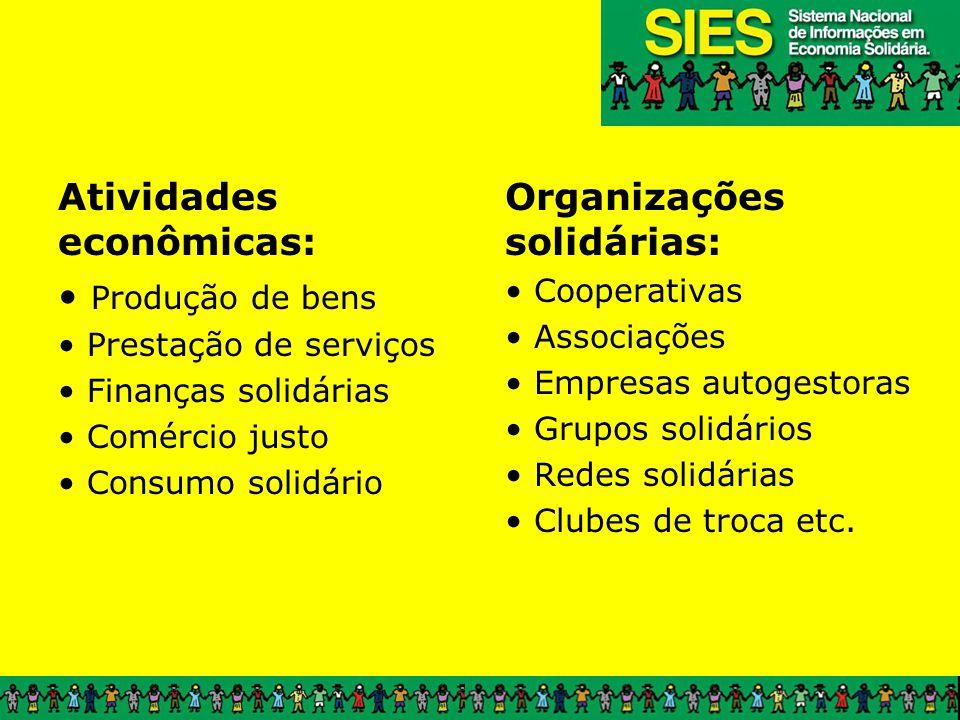 Atividades econômicas: Produção de bens Prestação de serviços Finanças solidárias Comércio justo Consumo solidário Organizações solidárias: Cooperativ
