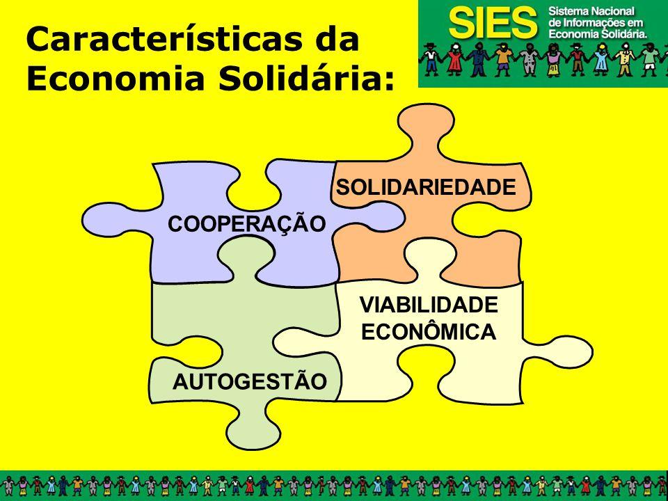 Características da Economia Solidária: COOPERAÇÃO VIABILIDADE ECONÔMICA SOLIDARIEDADE AUTOGESTÃO