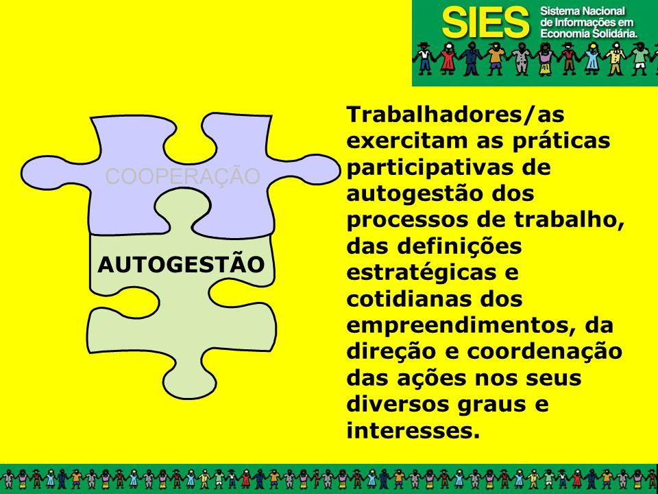 COOPERAÇÃO AUTOGESTÃO Trabalhadores/as exercitam as práticas participativas de autogestão dos processos de trabalho, das definições estratégicas e cotidianas dos empreendimentos, da direção e coordenação das ações nos seus diversos graus e interesses.