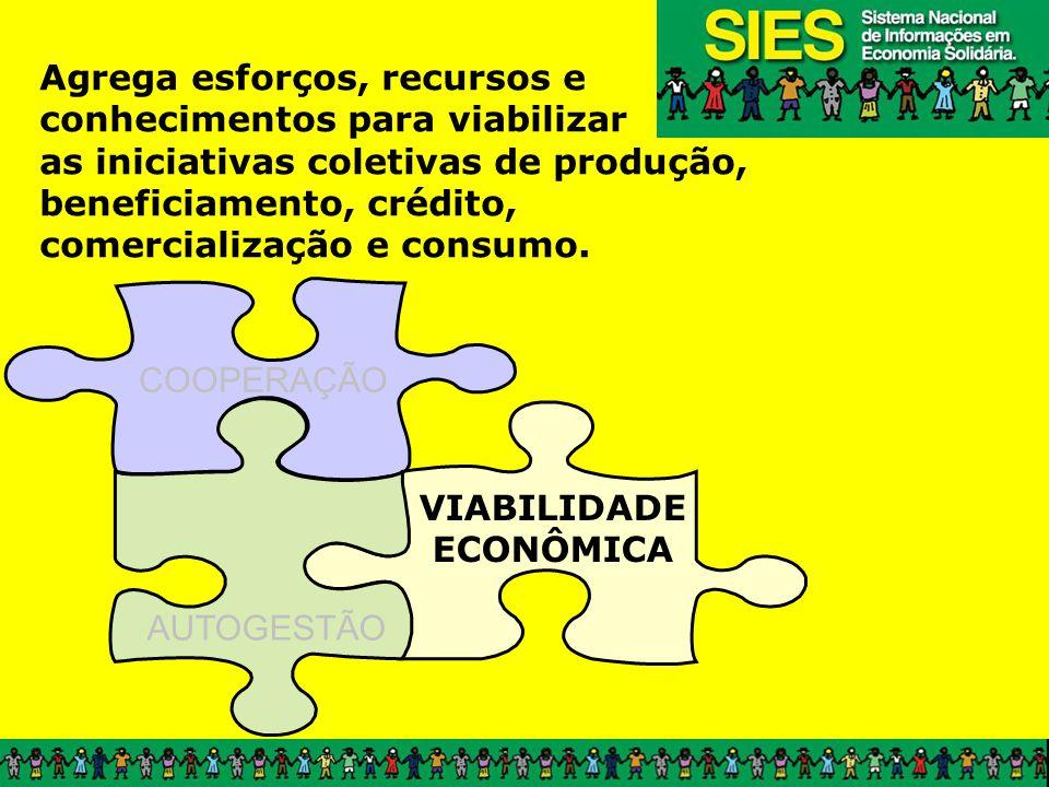 COOPERAÇÃO VIABILIDADE ECONÔMICA AUTOGESTÃO Agrega esforços, recursos e conhecimentos para viabilizar as iniciativas coletivas de produção, beneficiamento, crédito, comercialização e consumo.