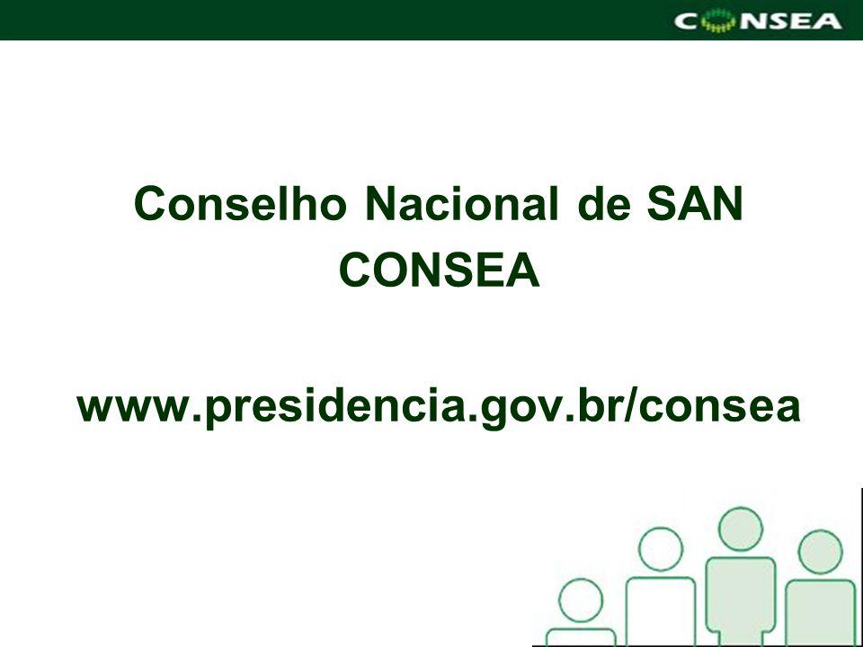 Conselho Nacional de SAN CONSEA www.presidencia.gov.br/consea