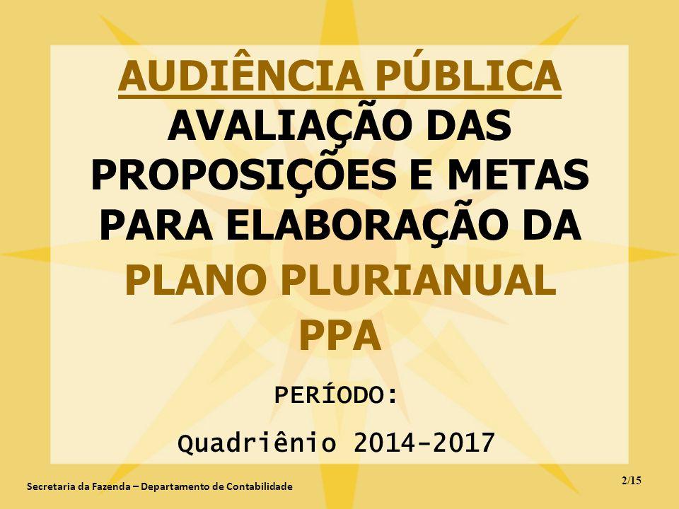 AUDIÊNCIA PÚBLICA AVALIAÇÃO DAS PROPOSIÇÕES E METAS PARA ELABORAÇÃO DA PLANO PLURIANUAL PPA PERÍODO: Quadriênio 2014-2017 2/15 Secretaria da Fazenda –