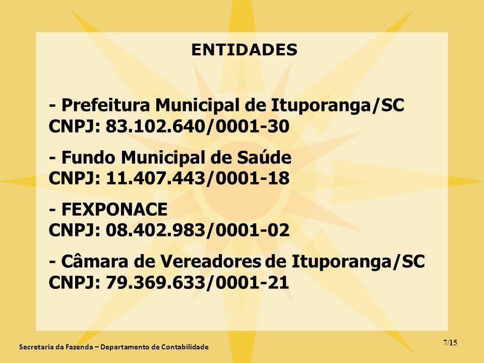 ENTIDADES - Prefeitura Municipal de Ituporanga/SC CNPJ: 83.102.640/0001-30 - Fundo Municipal de Saúde CNPJ: 11.407.443/0001-18 - FEXPONACE CNPJ: 08.40