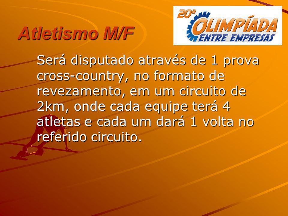 Atletismo M/F Será disputado através de 1 prova cross-country, no formato de revezamento, em um circuito de 2km, onde cada equipe terá 4 atletas e cad