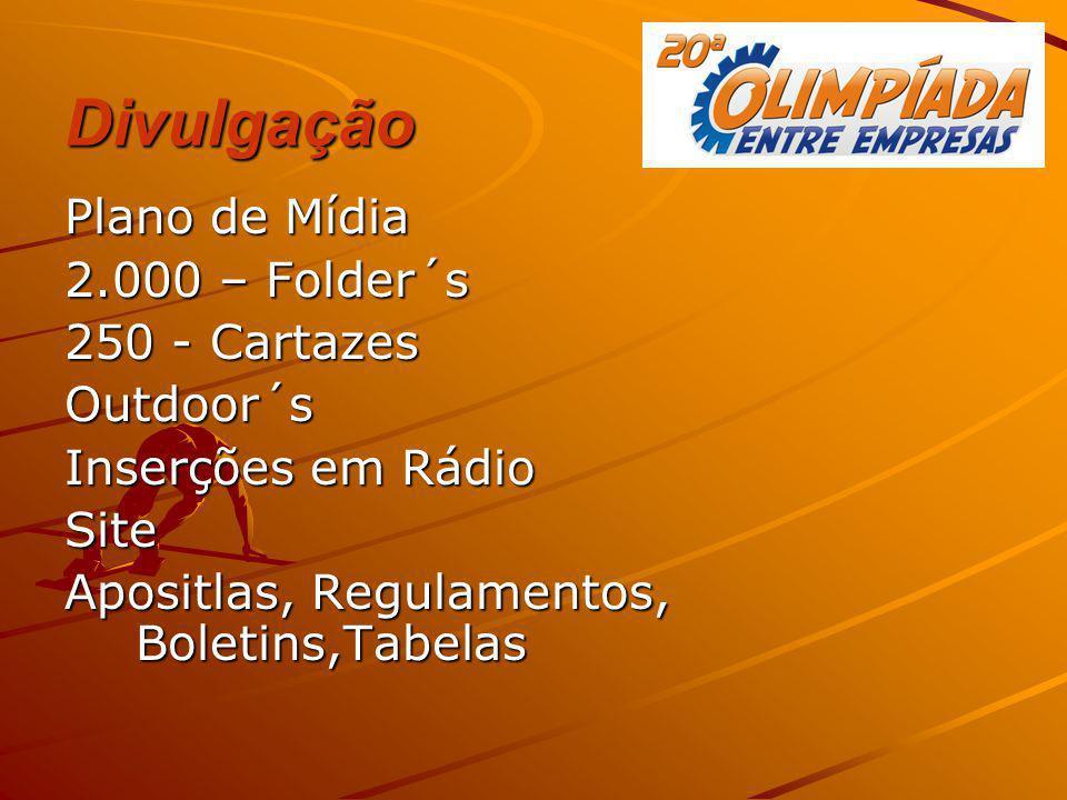 Divulgação Plano de Mídia 2.000 – Folder´s 250 - Cartazes Outdoor´s Inserções em Rádio Site Apositlas, Regulamentos, Boletins,Tabelas