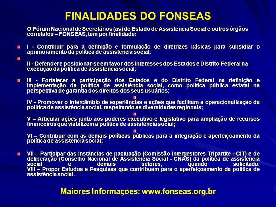 FINALIDADES DO FONSEAS O Fórum Nacional de Secretários (as) de Estado de Assistência Social e outros órgãos correlatos – FONSEAS, tem por finalidade: