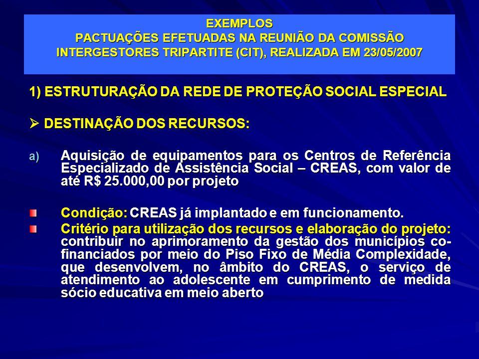 EXEMPLOS PACTUAÇÕES EFETUADAS NA REUNIÃO DA COMISSÃO INTERGESTORES TRIPARTITE (CIT), REALIZADA EM 23/05/2007 1) ESTRUTURAÇÃO DA REDE DE PROTEÇÃO SOCIA