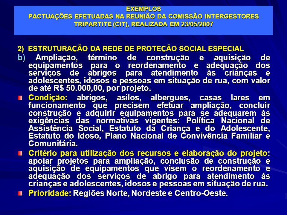 EXEMPLOS PACTUAÇÕES EFETUADAS NA REUNIÃO DA COMISSÃO INTERGESTORES TRIPARTITE (CIT), REALIZADA EM 23/05/2007 2) ESTRUTURAÇÃO DA REDE DE PROTEÇÃO SOCIA