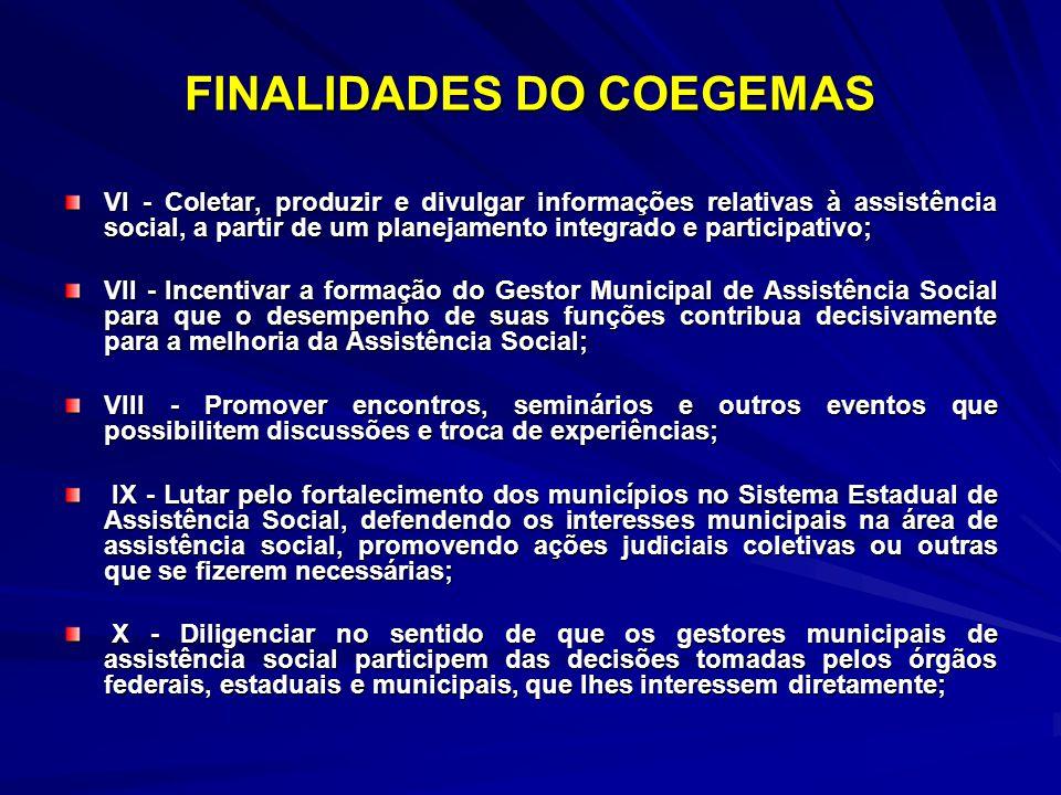 FINALIDADES DO COEGEMAS VI - Coletar, produzir e divulgar informações relativas à assistência social, a partir de um planejamento integrado e particip