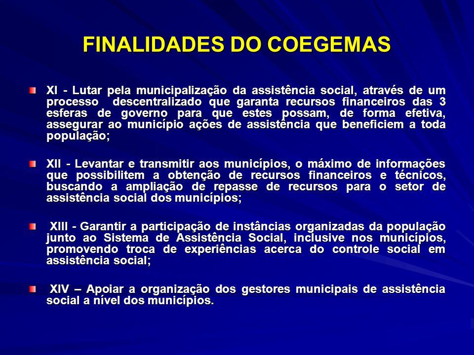 FINALIDADES DO COEGEMAS XI - Lutar pela municipalização da assistência social, através de um processo descentralizado que garanta recursos financeiros