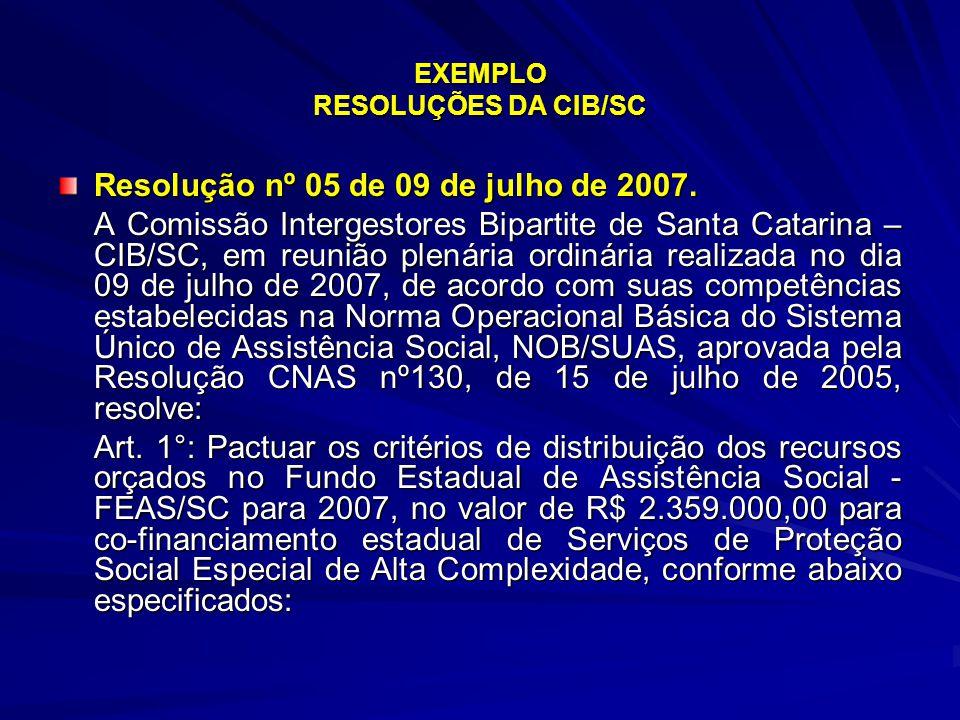 EXEMPLO RESOLUÇÕES DA CIB/SC Resolução nº 05 de 09 de julho de 2007. A Comissão Intergestores Bipartite de Santa Catarina – CIB/SC, em reunião plenári