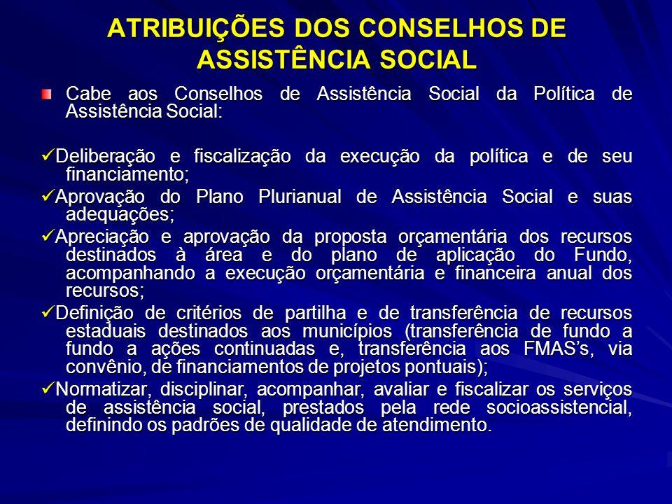 ATRIBUIÇÕES DOS CONSELHOS DE ASSISTÊNCIA SOCIAL Cabe aos Conselhos de Assistência Social da Política de Assistência Social: Deliberação e fiscalização