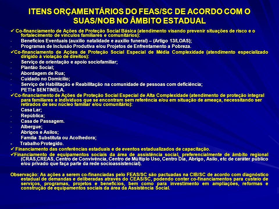 ITENS ORÇAMENTÁRIOS DO FEAS/SC DE ACORDO COM O SUAS/NOB NO ÂMBITO ESTADUAL Co-financiamento de Ações de Proteção Social Básica (atendimento visando pr