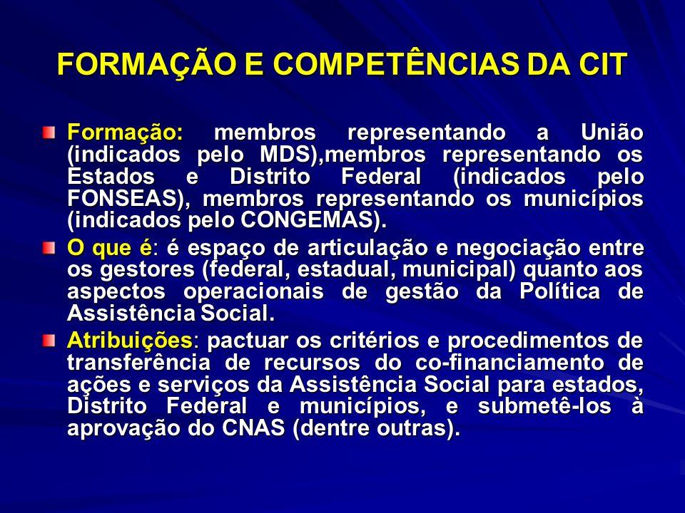 FORMAÇÃO E COMPETÊNCIAS DA CIT Formação: membros representando a União (indicados pelo MDS),membros representando os Estados e Distrito Federal (indic