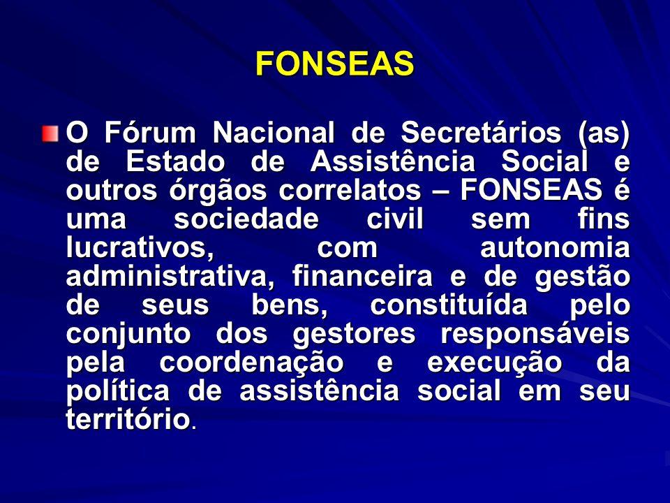 FONSEAS O Fórum Nacional de Secretários (as) de Estado de Assistência Social e outros órgãos correlatos – FONSEAS é uma sociedade civil sem fins lucra