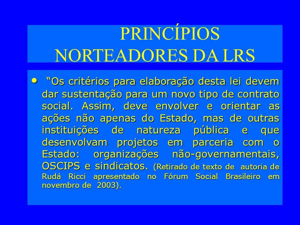 PRINCÍPIOS NORTEADORES DA LRS Os critérios para elaboração desta lei devem dar sustentação para um novo tipo de contrato social.