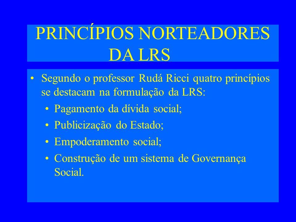 PRINCÍPIOS NORTEADORES DA LRS Segundo o professor Rudá Ricci quatro princípios se destacam na formulação da LRS: Pagamento da dívida social; Publicização do Estado; Empoderamento social; Construção de um sistema de Governança Social.