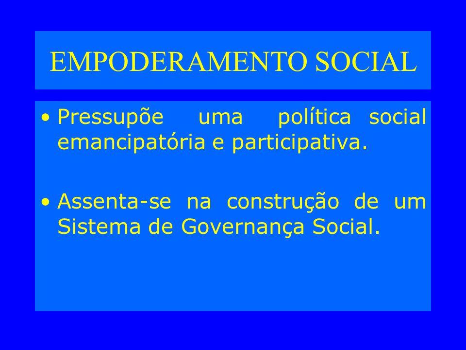 EMPODERAMENTO SOCIAL Pressupõe uma política social emancipatória e participativa.