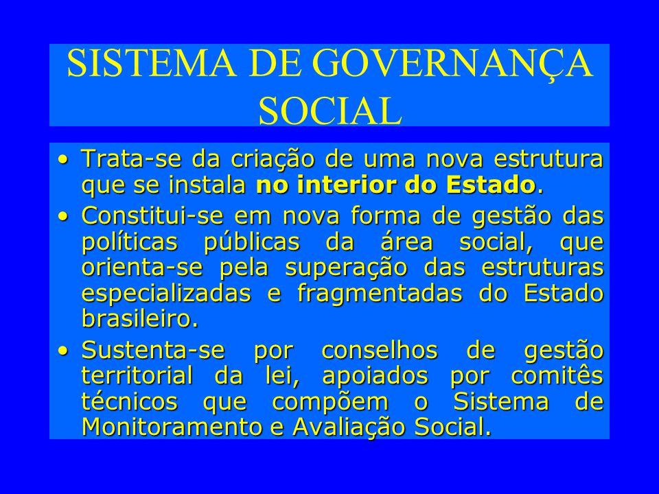 SISTEMA DE GOVERNANÇA SOCIAL Trata-se da criação de uma nova estrutura que se instala no interior do Estado.Trata-se da criação de uma nova estrutura que se instala no interior do Estado.