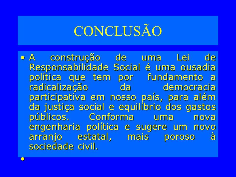 CONCLUSÃO A construção de uma Lei de Responsabilidade Social é uma ousadia política que tem por fundamento a radicalização da democracia participativa em nosso país, para além da justiça social e equilíbrio dos gastos públicos.