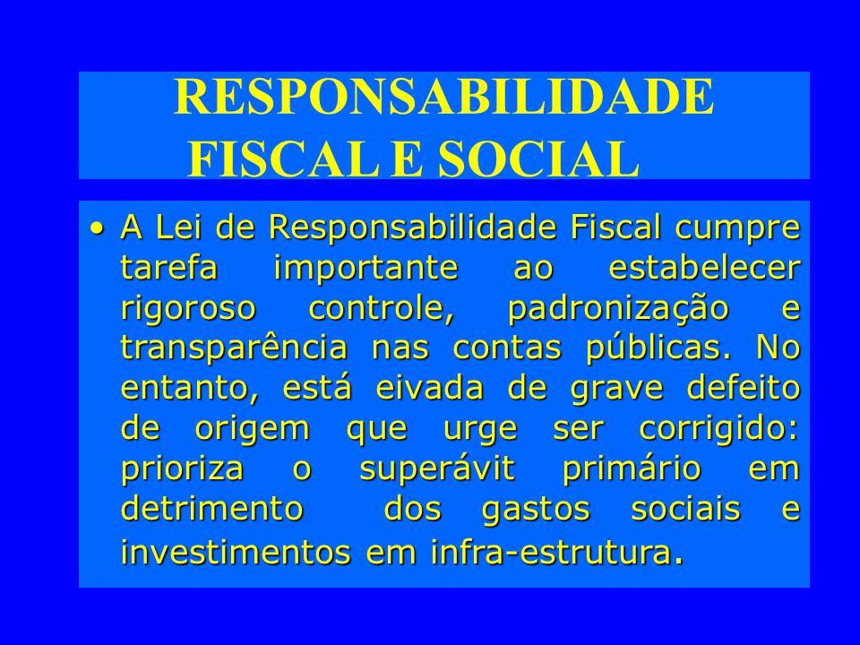RESPONSABILIDADE FISCAL E SOCIAL A Lei de Responsabilidade Fiscal cumpre tarefa importante ao estabelecer rigoroso controle, padronização e transparência nas contas públicas.