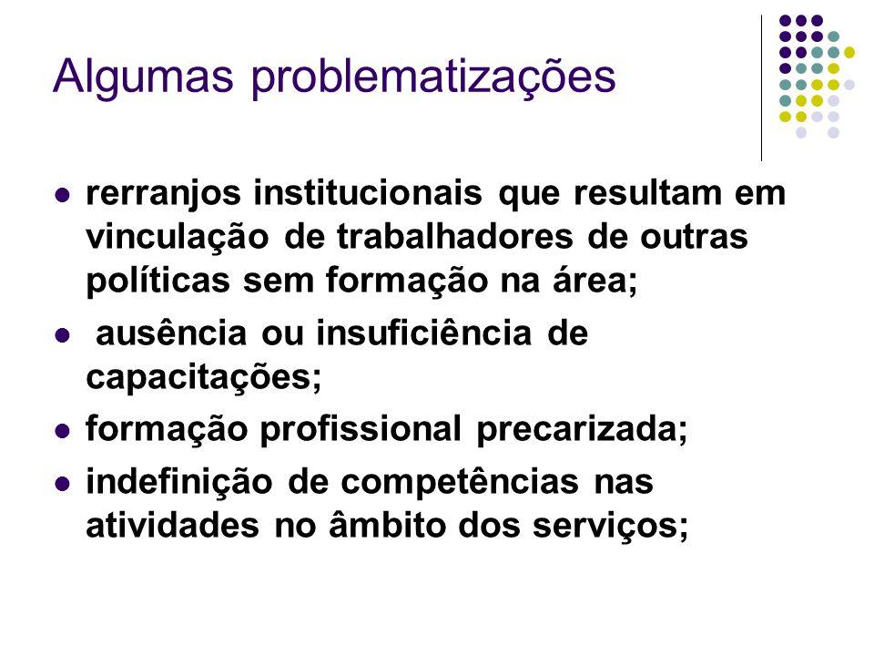 Algumas problematizações rerranjos institucionais que resultam em vinculação de trabalhadores de outras políticas sem formação na área; ausência ou in