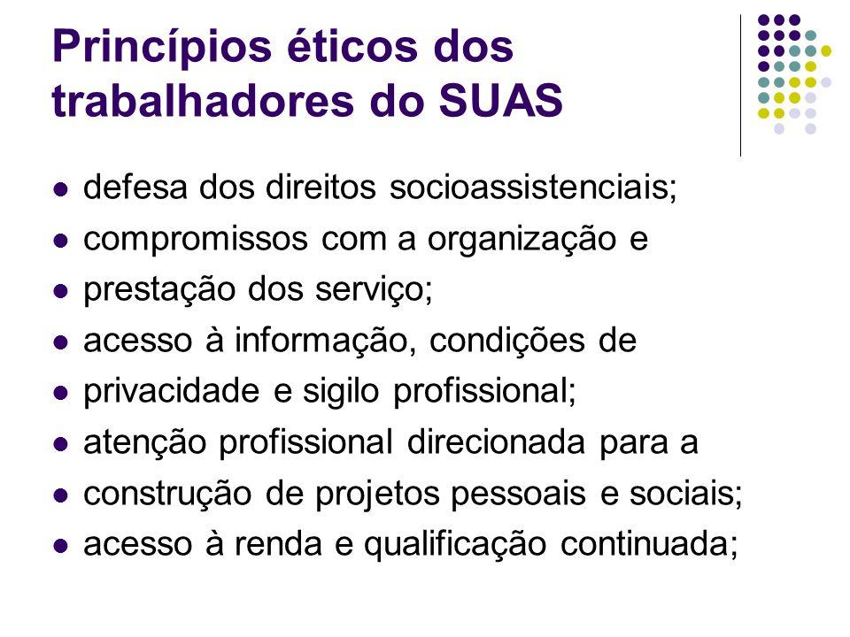 defesa dos direitos socioassistenciais; compromissos com a organização e prestação dos serviço; acesso à informação, condições de privacidade e sigilo