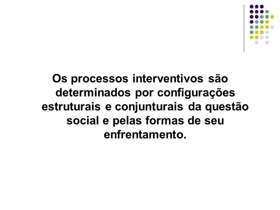 Os processos interventivos são determinados por configurações estruturais e conjunturais da questão social e pelas formas de seu enfrentamento.