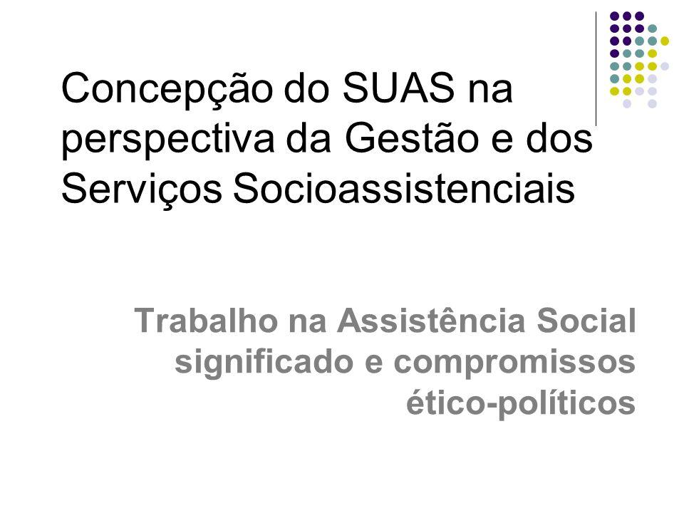 Concepção do SUAS na perspectiva da Gestão e dos Serviços Socioassistenciais Trabalho na Assistência Social significado e compromissos ético-políticos