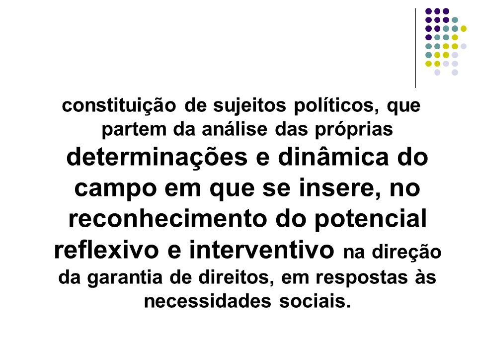constituição de sujeitos políticos, que partem da análise das próprias determinações e dinâmica do campo em que se insere, no reconhecimento do potenc