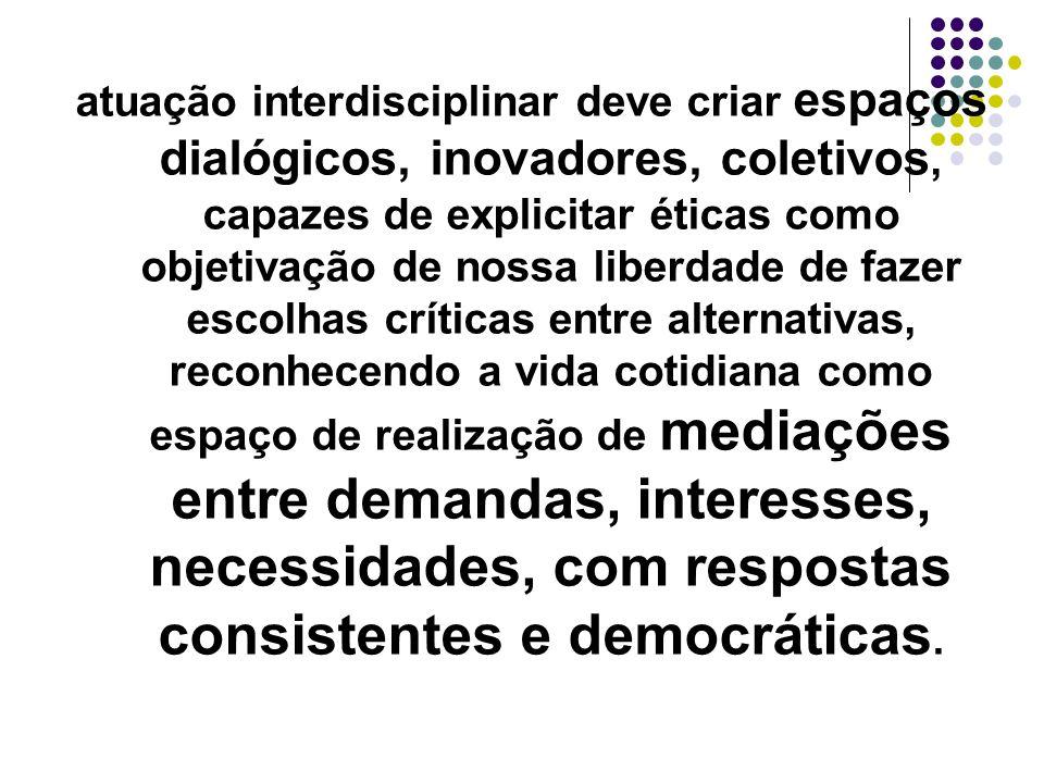 atuação interdisciplinar deve criar espaços dialógicos, inovadores, coletivos, capazes de explicitar éticas como objetivação de nossa liberdade de faz