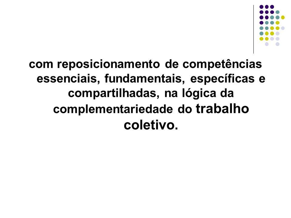 com reposicionamento de competências essenciais, fundamentais, específicas e compartilhadas, na lógica da complementariedade do trabalho coletivo.