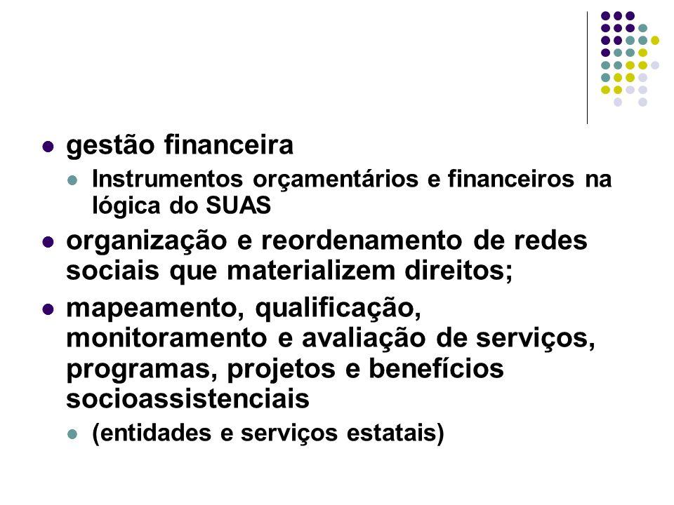 gestão financeira Instrumentos orçamentários e financeiros na lógica do SUAS organização e reordenamento de redes sociais que materializem direitos; m
