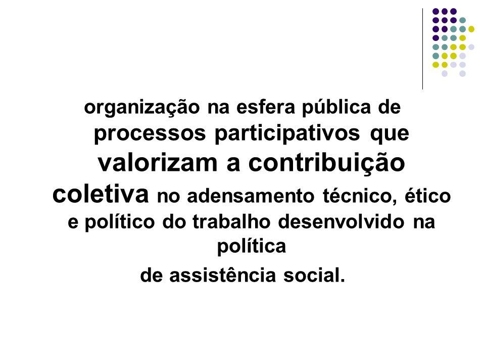 organização na esfera pública de processos participativos que valorizam a contribuição coletiva no adensamento técnico, ético e político do trabalho d